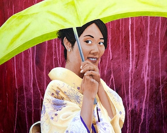 "The Green Umbrella, Beautiful Japanese Woman Painting, Portrait Painting, Painting of a Woman, Original Artwork Print 8.5"" x 11"""