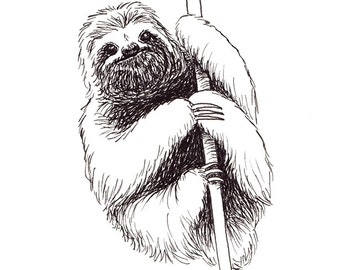Sloth / Original Artwork / Illustration / Daily Doodle / Art Print / Sloth Drawing / Sloth Print / Sloth Art
