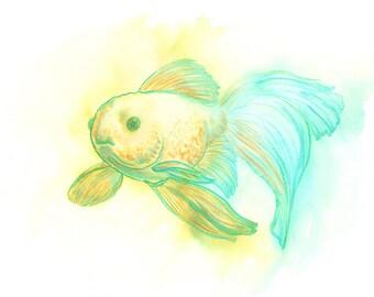 Colorful Gold Fish, Watercolor Fish, Watercolor Painting, Original Artwork, Yellow Blue Green