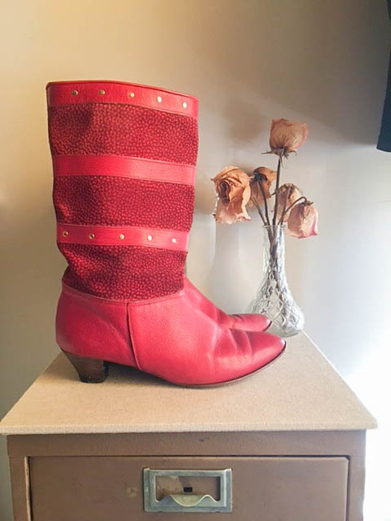f53e27f8d68 Sweet Vintage 80s Red Snakeskin Leather Slouch Retro Mid Calf