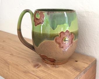 Extra large pottery mug, handmade mug, coffee mug, rustic, green, pottery, handmade mug, coffee lover, gifts for her, huge, gigantic