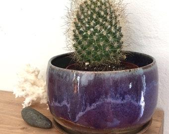 Pottery planter, violet purple, succulent planter, cactus pot, houseplant, ceramic flower pot, gift for plant lover, sister, mom, coworker