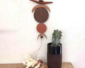 Solar/lunar talisman, stoneware, wall hanging, red hot pottery