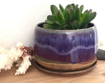 Pottery planter, ultra violet, succulent planter, cactus pot, houseplant, ceramic flower pot, gift for plant lover, sister, mom, coworker