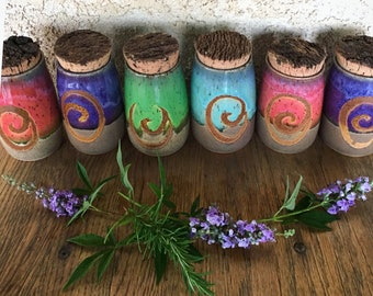 Stash jar, herb jar, weed jar, spice jar, kitchen, gourmet, gift for her, cannabis, medicine jar, red hot pottery