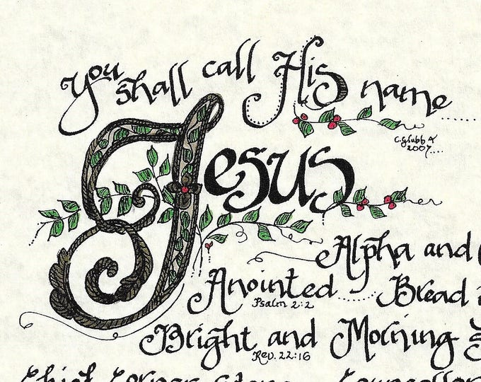 "The Names of Jesus: Alpha & Omega,King of Kings, Bread of Life--Color Print 8""x10""-Calligraphy Artwork By Cindy Grubb- Matching Bookmark!"