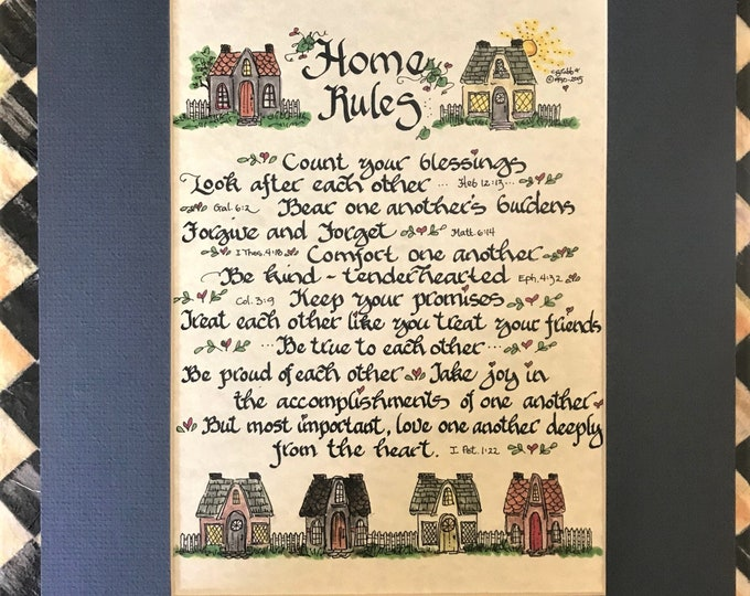 Home Rules Print (Quoting Scriptures) by Cindy Grubb Calligraphy FREE SHIPPING, Free Bookmark, Cottage or Traditional, Count your blessings