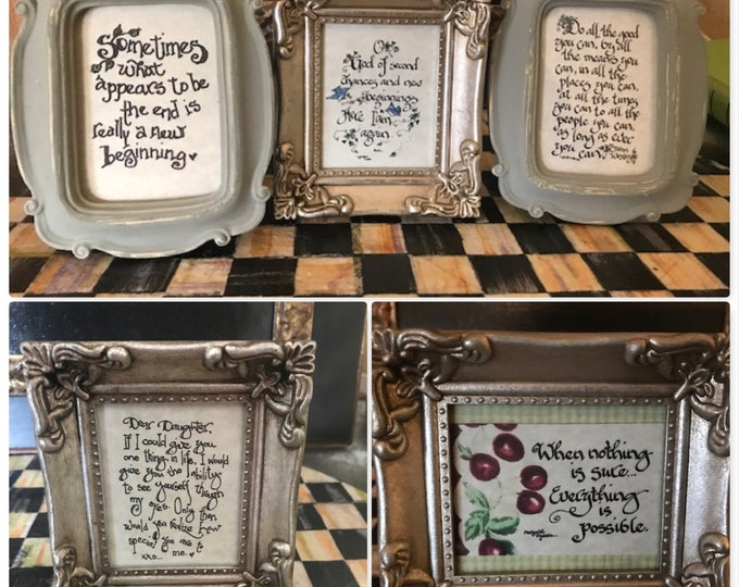"""41 INSPIRATIONAL Prints to choose from--Framed Mini's By Cindy Grubb-Choose Frame--FREE BOOKMARK--Artist Created--Print 2.5""""x 3-3.5"""", Unique"""