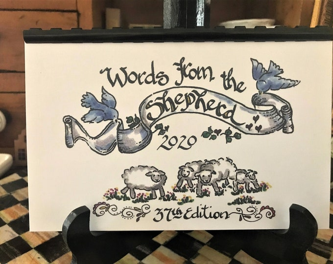 "2020 Scripture Calendar--The 37th Edition of ""Words From The Shepherd""-By Cindy Grubb, Calligraphy, FREE Misc Bookmark,EPH. 6, JOB 19, Psalm"