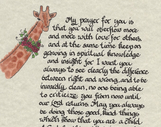 My Prayer for you...Philippians 1:9-11-Calligraphy Print by Cindy Grubb W/ Giraffe, Spiritual, Child of God, Custom mat, 11x14 Framed option