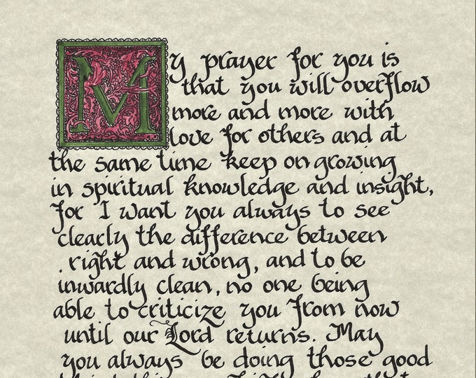 My Prayer for you...Philippians 1:9-11-Calligraphy Print by Cindy Grubb W/ Giraffe OR Traditional, Child of God, Custom mat, 11x14 Framed