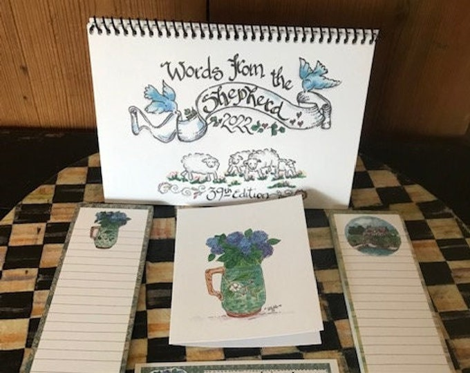 """2022 Scripture Calendar--The 39th Edition of """"Words From The Shepherd""""-By Cindy Grubb, Calligraphy By Hand, FREE Bookmark!(Grubbies)GIFT SET"""