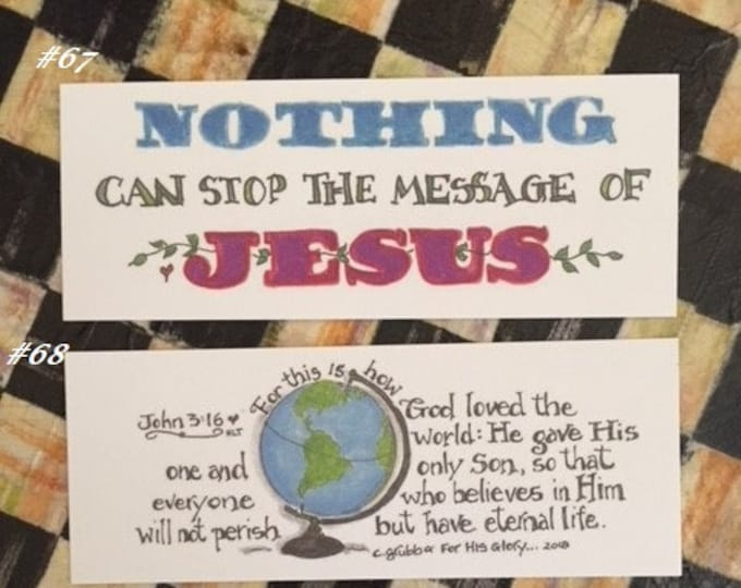 "Scripture Bookmarks By Cindy Grubb#67-68-The Message of Jesus & John 3:16""God loved the world, He gave his only Son""2-Sided Eng./Spanish"