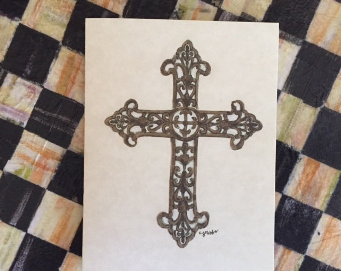 "Cross Note Cards (BLANK) -6 pack w/ envelopes ""For His Glory"" Cindy Grubb- Any Occasion, Budded/Rustic Cross--FREE Bookmark & SHIPPING"