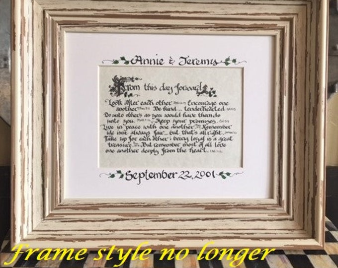 From this day forward- Scriptures, Matted Print, Framed 8x10 OR 11x14, Calligraphy, Custom Wedding & Anniversary ,FREE Shipping/Bookmarks