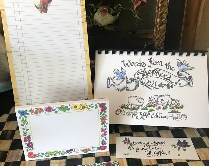 """2021 Scripture Calendar--The 38th Edition of """"Words From The Shepherd""""-By Cindy Grubb, Calligraphy, FREE Bookmark!, Gift set, New Notepads"""