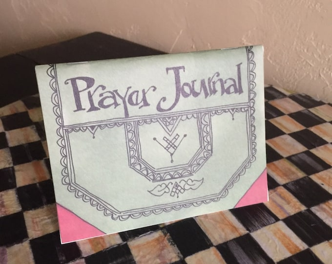 SALE! Prayer Journal *Free Bookmark*  James 5:16-10- For His Glory, Cindy Grubb-Calligraphy, Devotional Gift, Inspirational, Convenient size