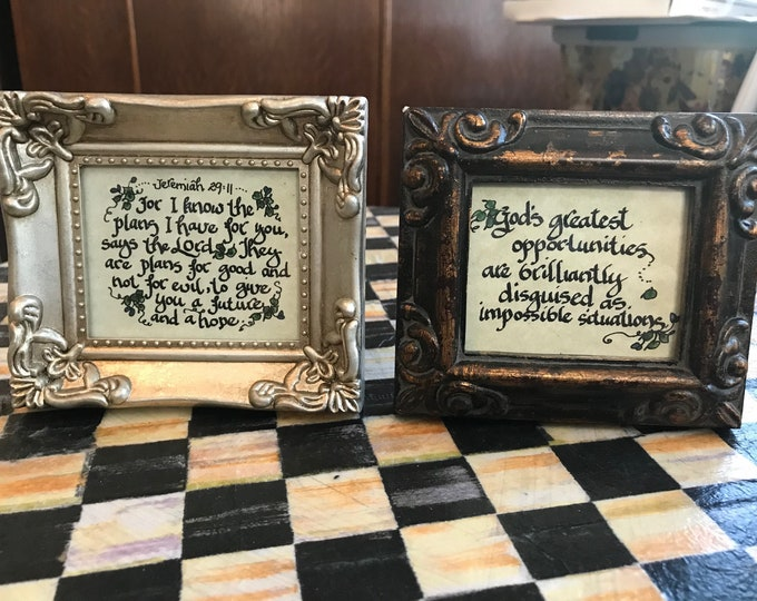 "NEW To My Shop--Framed Mini's Designed By Cindy Grubb-Choose Your Own Frame & Scripture/Print--FREE BOOKMARK--Artist Created--Print 2.5""x3"""