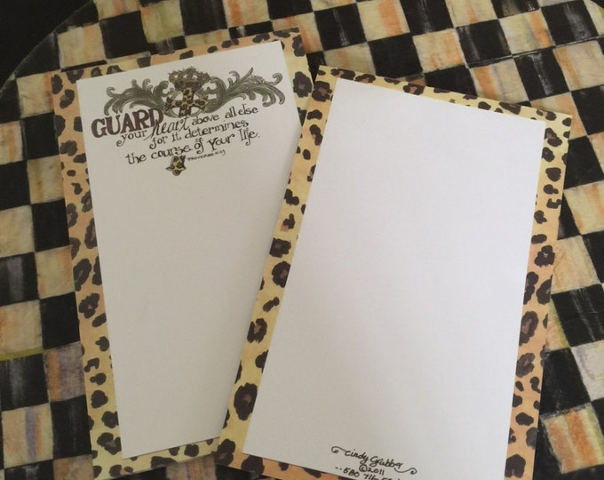 "Scripture Notepad--Proverbs 4:23 ""Guard your heart""  Leopard, Cross & Crown, For His Glory by Cindy Grubb **FREE MATCHING BOOKMARK**, tablet"