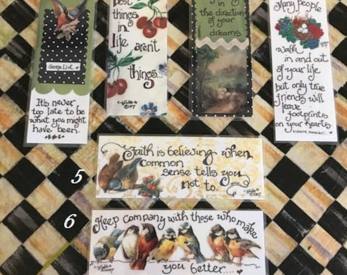 Inspirational Bookmarks-Cindy Grubb_For His Glory-#1-6, Calligraphy, Eleanor Roosevelt, Thoreau, George Eliot, Faith, Life, Religious item