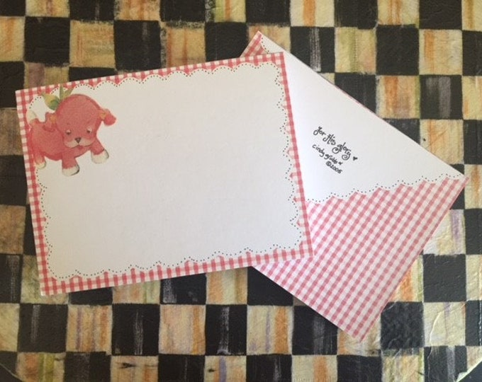 NEW*Vintage Pink Puppy Notepad- 1950's Era- Checkerboard Trim-Cindy Grubb -Nursery-Baby Announcement- FREE BOOKMARK-Thank you card/Note Card