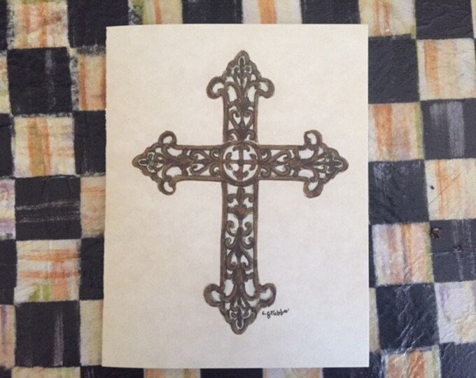 "Cross Note Cards (BLANK) -6 pack w/ envelopes ""For His Glory"" Cindy Grubb Artwork- Any Occasion, FREE BOOKMARK, Thank you card, Rustic Cross"