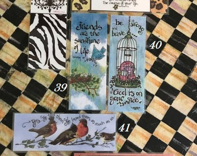 Scripture Bookmarks-Cindy Grubb_For His Glory-#37-42 Blessed-Matthew, Guard-Proverbs, Friends John Hay, Strong,Vintage Bird,Musical Score