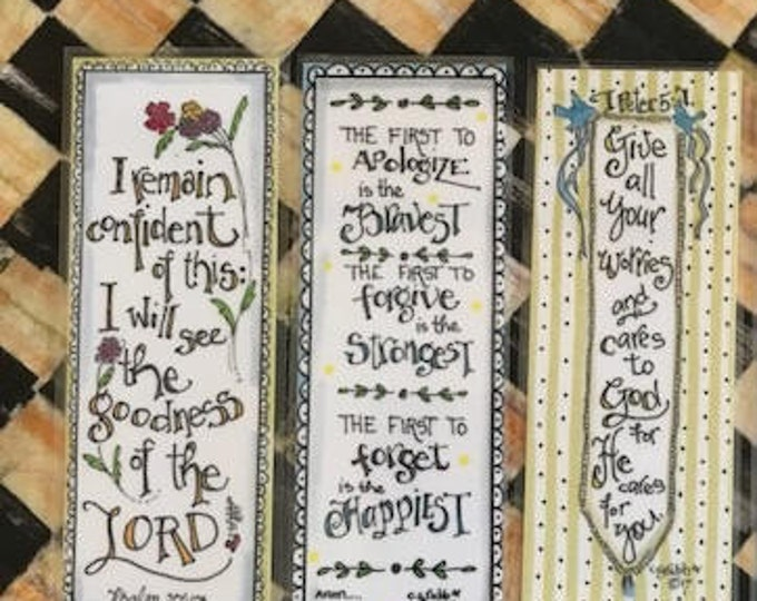 Scripture Bookmarks-Cindy Grubb_For His Glory-#63-65, Psalm 27 13(Flowers), The Happiest, Peter 5 7(Banner), Inspirational, christian