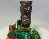 Wood carved, owl, owl with books, sculpture, table or shelf ornament, diorama, home decor, statue, miniature, magical, figurine, whimsical