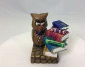 Wood carving, owl wisdom, owl with books, scholar, diorama, home decor, student gift, miniature, teacher gift, figurine, whimsical