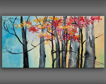 4cec90a9c Original Tree Art painting huge Impasto Texture modern oil painting  Abstract Painting on gallery wrap linen canvas 48