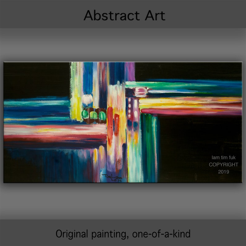 Original Abstract Painting Art Oil Painting 48x24 image 0