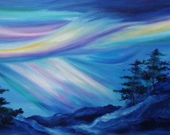 """Northern Lights in Blue Sky with pine trees, snow mountains skyline, Original Art Oil Painting 48""""x24"""""""