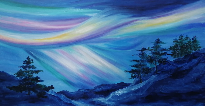 Northern Lights in Blue Sky with pine trees snow mountains image 0