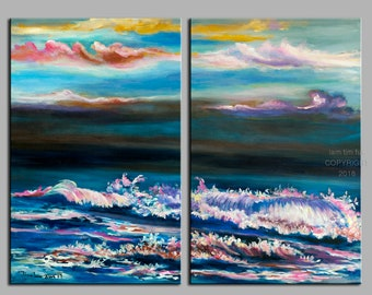 Beach art abstract painting Abstract Sunrise Wave Landscape Painting 48x36