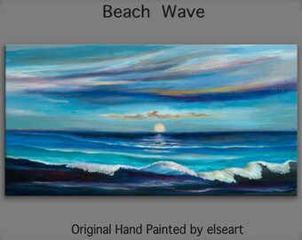 Original abstract painting oil painting Sea art Beach Wave with blue grey shades on gallery wrap canvas  48x24