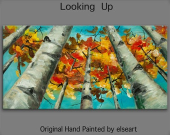 Happy Autumn Looking Up,  Contemporary Huge Original acrylic Painting 48x24x1.5