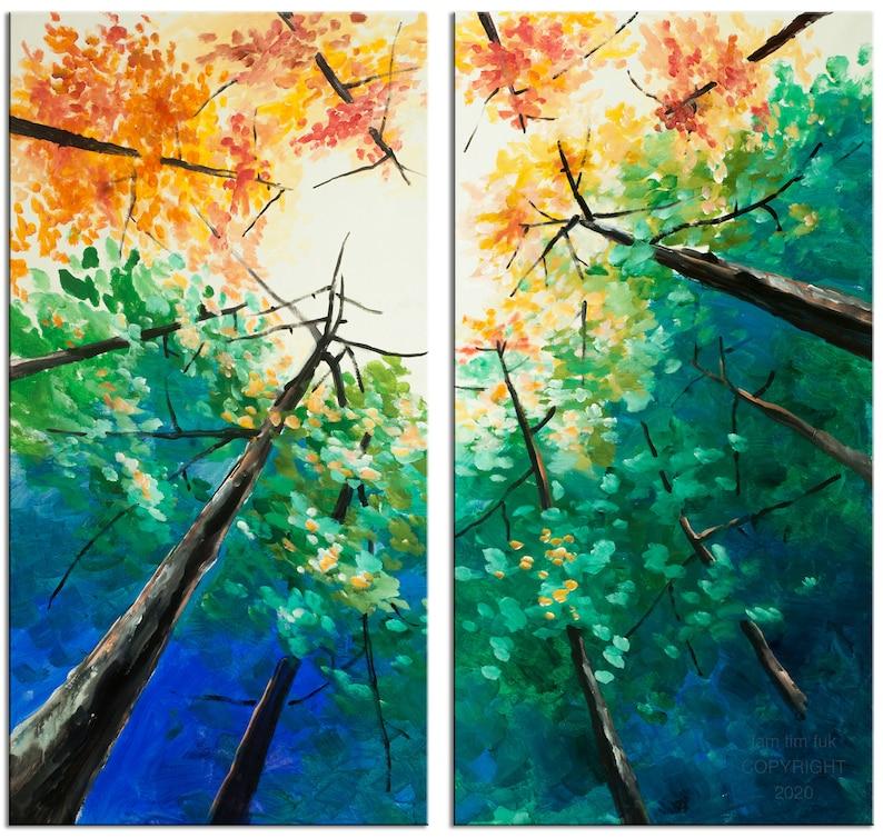 Original Tree Art painting huge Impasto Texture modern oil image 0