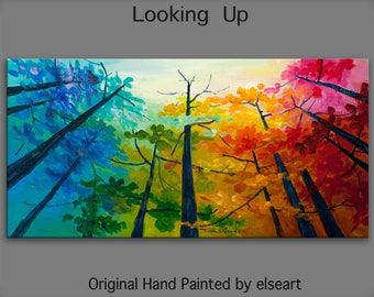 Original Landscape painting Forest skyline Art multi colors Looking Up oil painting huge size