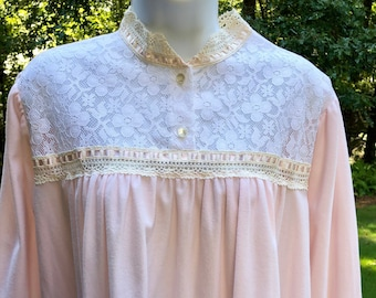 Vintage Night Gown - Jaclyn Smith Flannel Gown - Pink Gown - Granny Gown - Soft Flannel with Lace