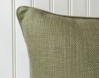 Nubby Texture Cotton Burlap Weave Pillow Cover - Blue  Brown Tan - Decorator Pillow -  Cottage Country Farmhouse Traditional Style - SA