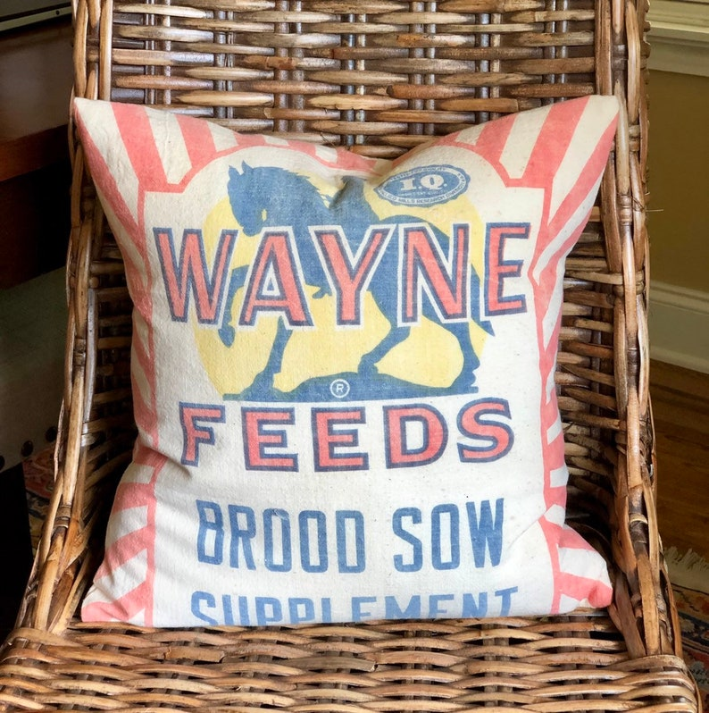 Authentic Vintage Feed Sack Pillow Cover  Horse Knight  image 0