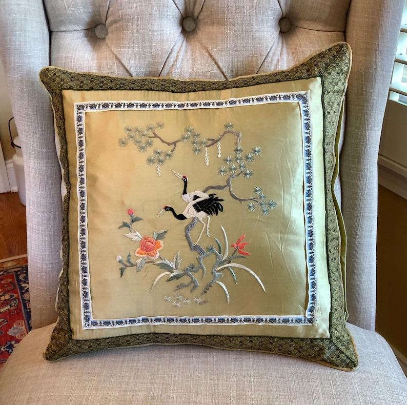 Silk Kimono Pillow  Green Asian Accent Pillows  Vintage image 0