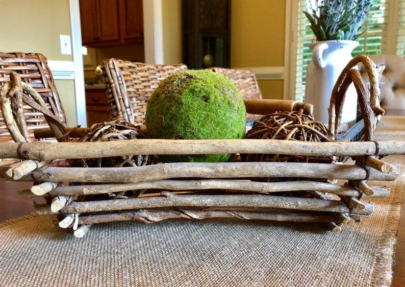 Rustic Twig Handled Basket  Oblong Basket  Wood Basket  image 0