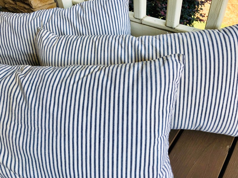 Authentic Blue Ticking Pillow  Bolster  Heavy Ticking  image 0
