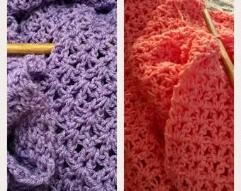 Crocheted Throw Blanket Afghan - Custom Made to Order - Handmade V Stitch - Mango Amethyst - Any Color