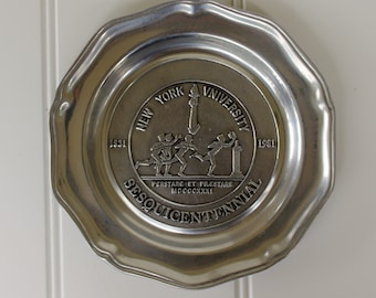 NYU Commemorative Pewter Plate - 150 Years - Collectible