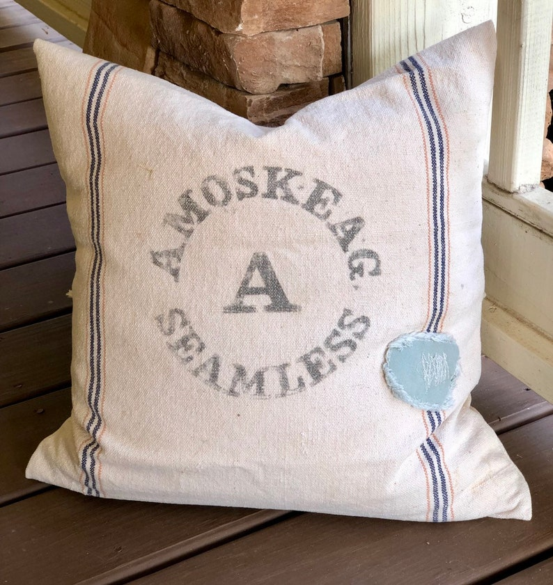 Authentic Vintage Grainsack Pillow Cover   Amoskeag Grain image 0