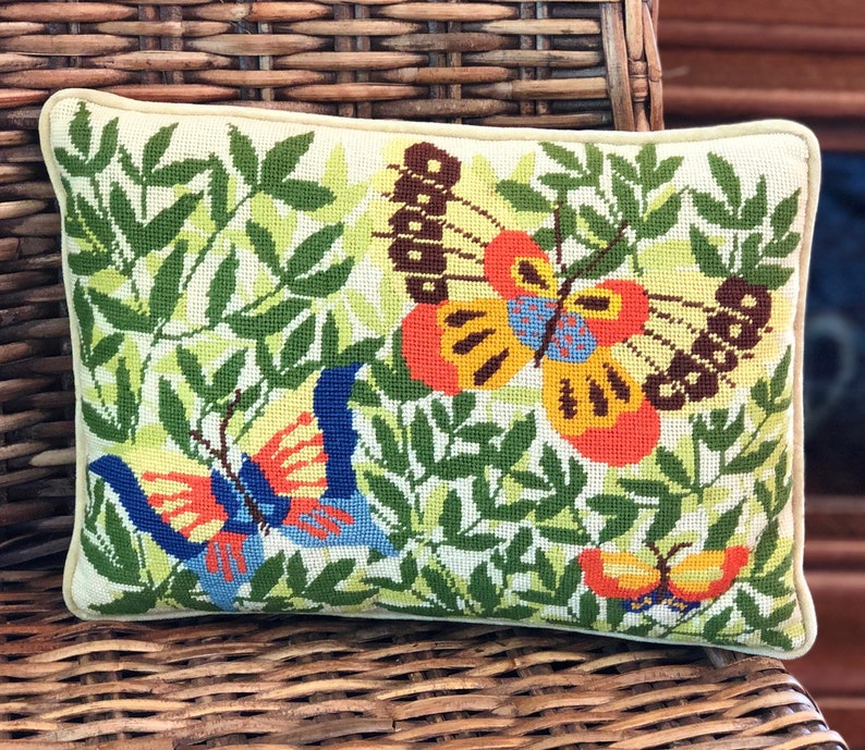 Vintage Needlepoint Pillow  Butterfly  Oblong Pillow  image 0