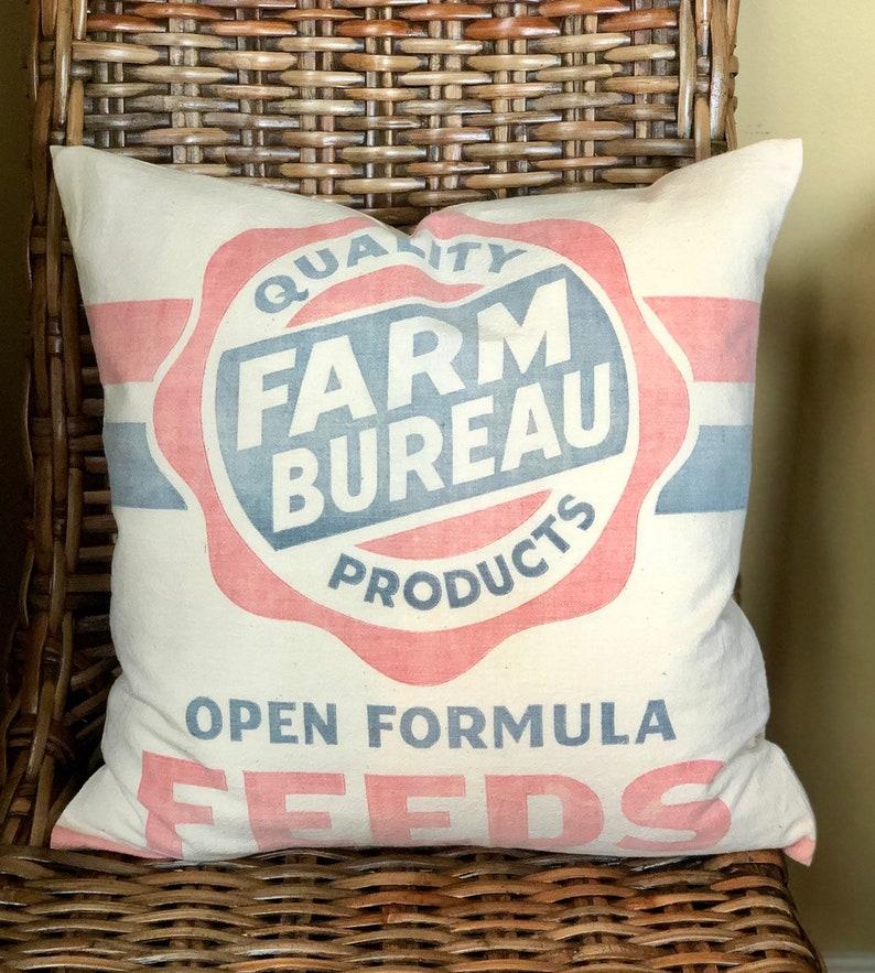 Authentic Vintage Feed Sack Pillow Cover  Farm Bureau  image 0
